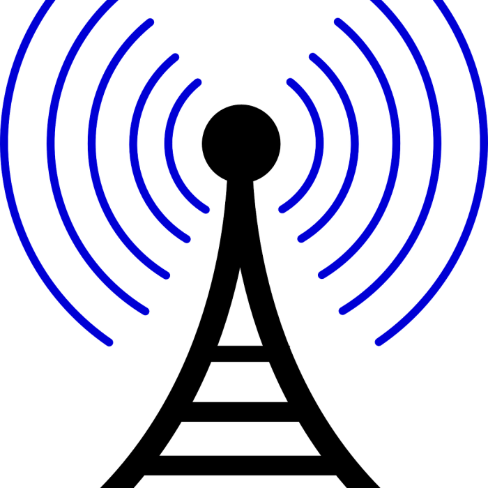 cartoon image of black cell tower with blue signal lines being emitted