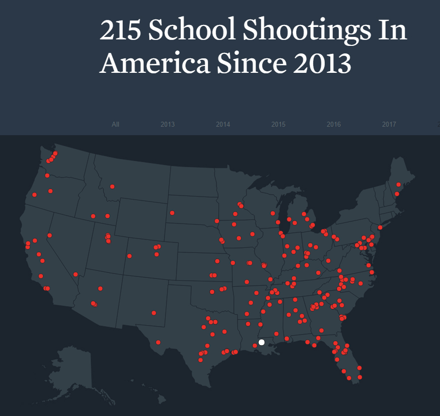 Map of School Shootings Since 2013