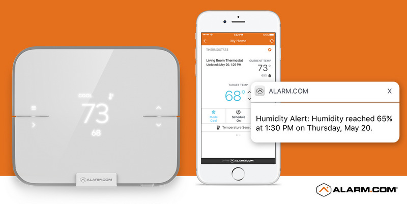 An Alarm.com Smart Thermostat and phone app.