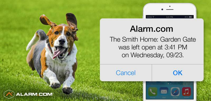 An Alarm.com alert showing that a garden gate has been left open.