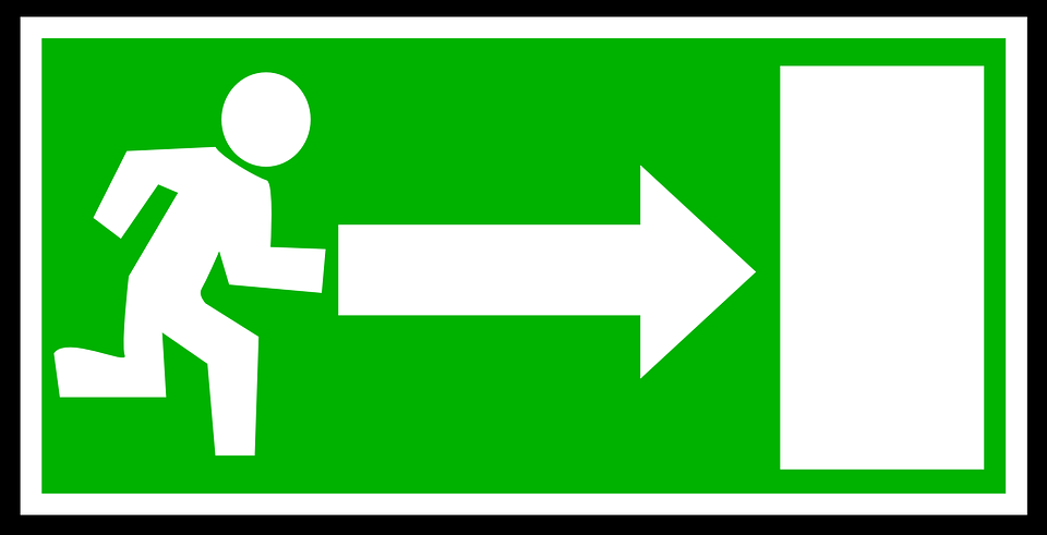 An exit sign showing the quickest way out.