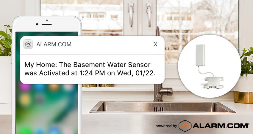 An Alarm.com alert notifying a customer that their water sensor has been activated.