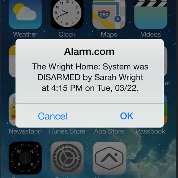 An Alarm.com alert showing the security system being disarmed.