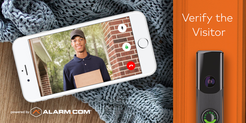 A smartphone displaying a doorbell camera image of a mailman.
