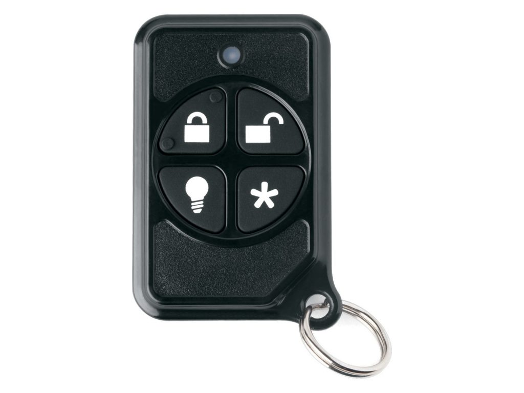 A 4-button keychain remote for a wireless security system.