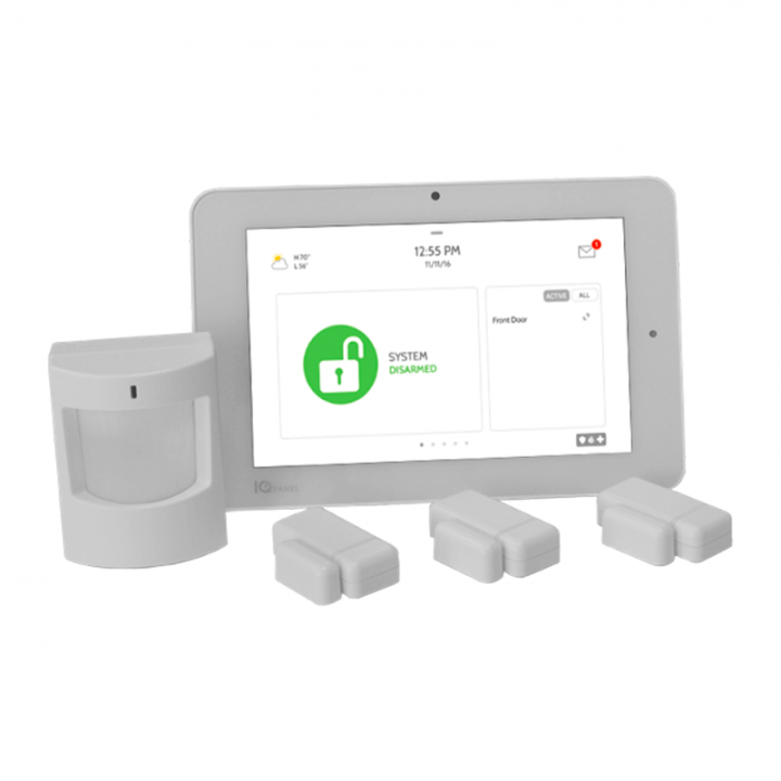 A QOLSYS IQ Panel 2, along with door contacts and a motion detector.