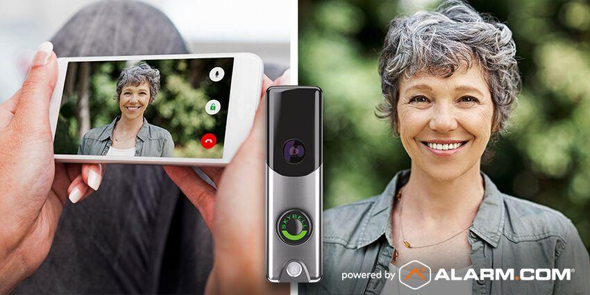 An Alarm.com doorbell camera displaying shows a guest at the door.