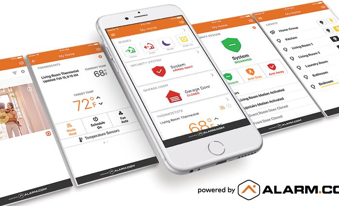 Several smart phones with Alarm.com apps open, showing security system and smart home controls