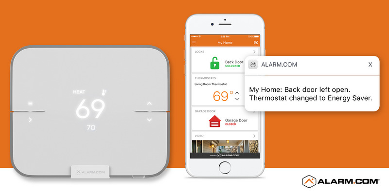 An Alarm.com Smart Thermostat Alert showing that a window has been left open.