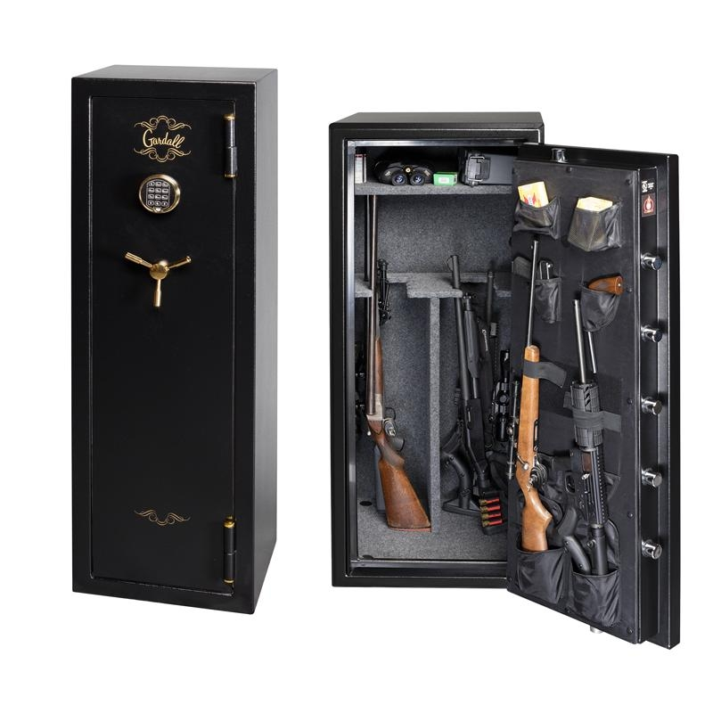 Two Gardall gun safes with guns and ammo.