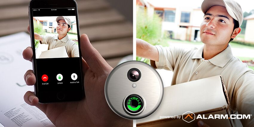 An Alarm.com doorbell camera image is captured on a phone.