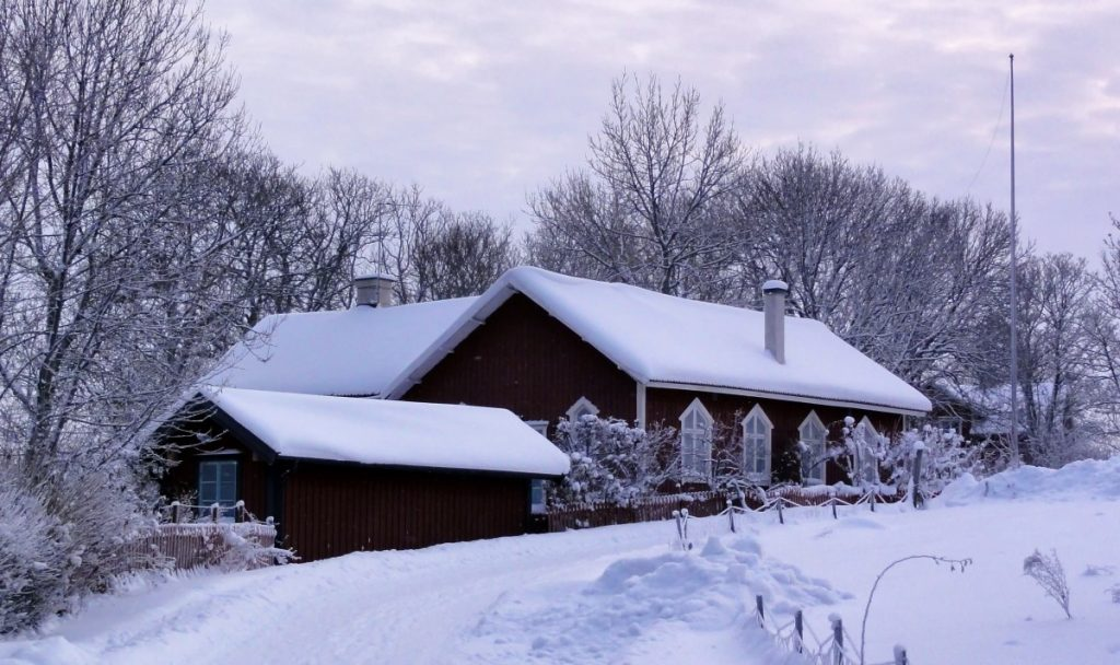 A home and trees covered in snow.