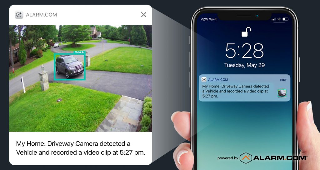Alarm.com camera footage and a motion-detection based alert.