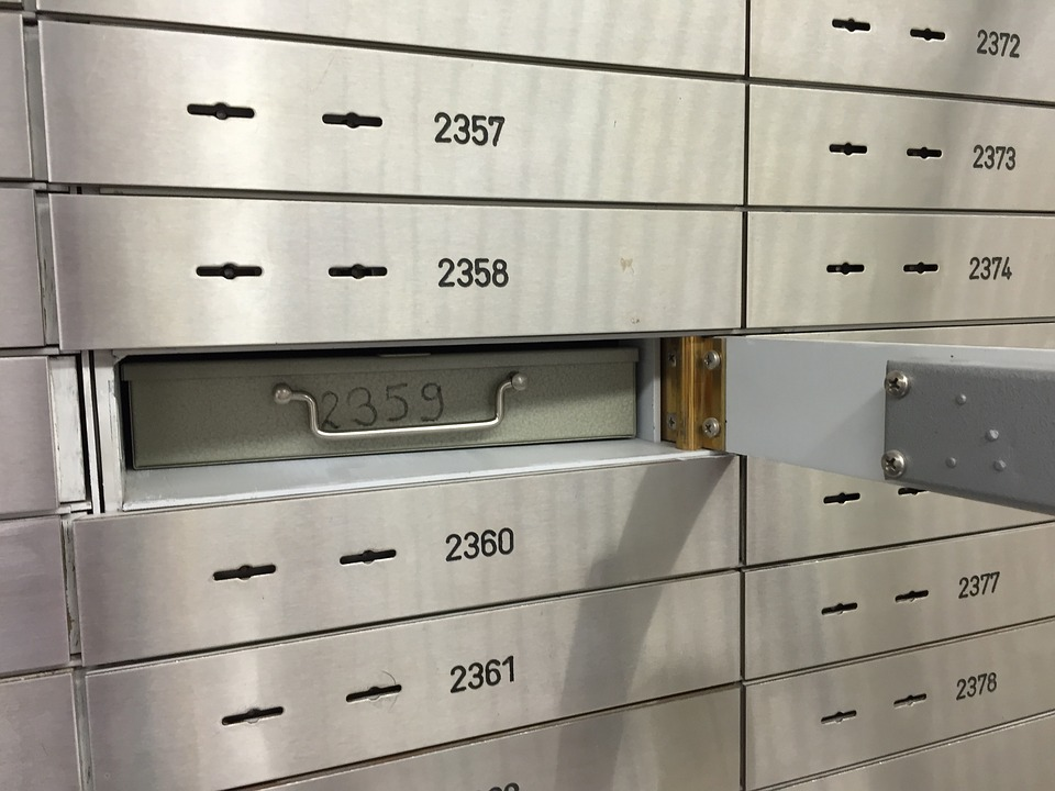 A safe bank deposit box