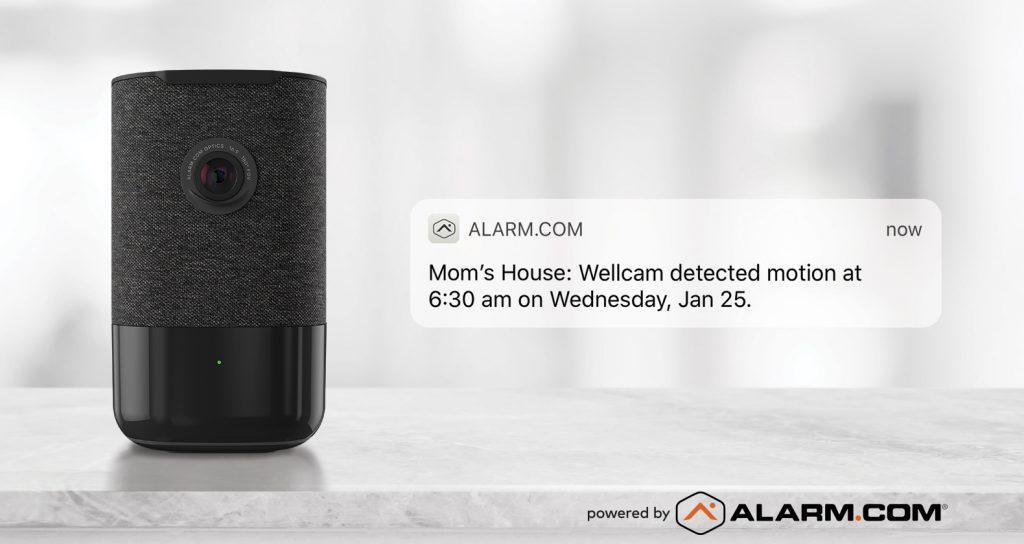 The Alarm.com wellcam speaker, camera, and motion detector.