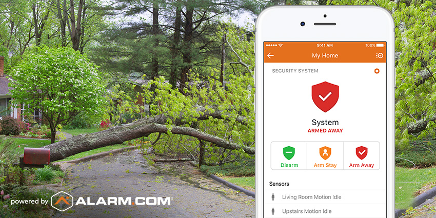 "The Alarm.com app open on a smartphone, indicating an ""armed"" security system."