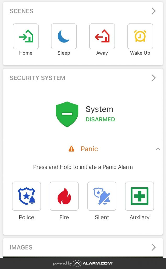 An Alarm.com app displaying panic signal options.