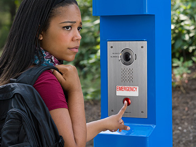 A student using an emergency call station.