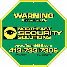 A Northeast Security Solutions yard sign.