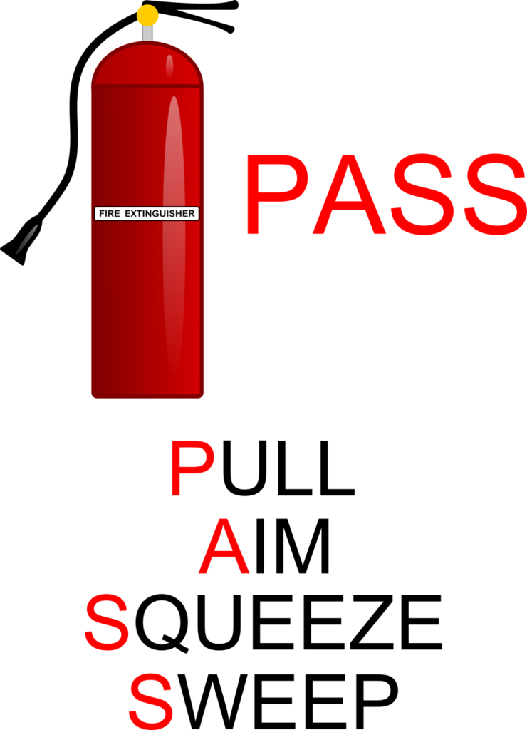 "A fire extinguisher and text exlaining the ""PASS"" acronym"