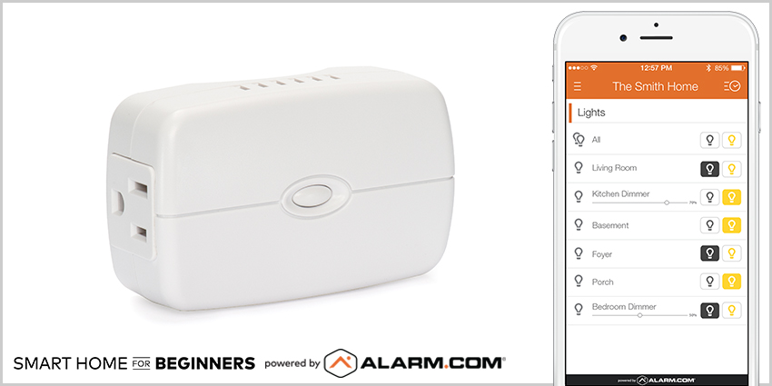 An Alarm.com smart plug connected to the Alarm.com mobile app