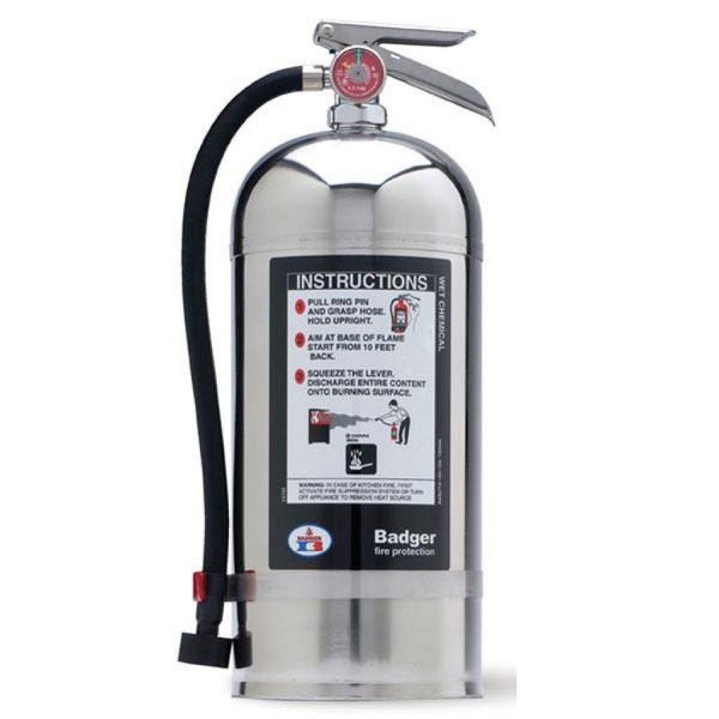 A Badger Class K fire extinguisher