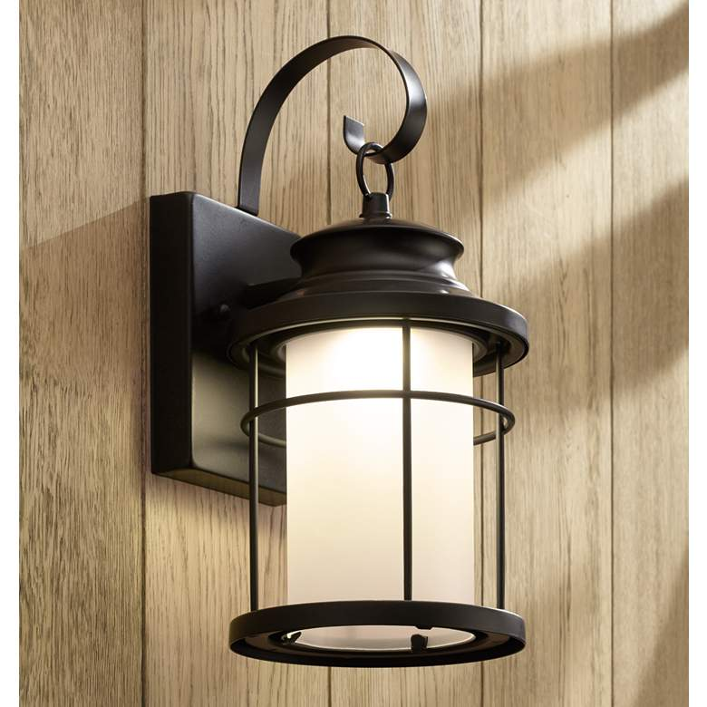 An outdoor wall light on a home.
