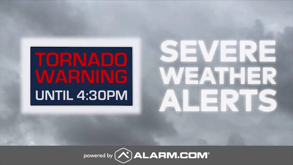 "An Alarm.com severe weather alert reading ""Tornado Warning Until 6:30 PM"""