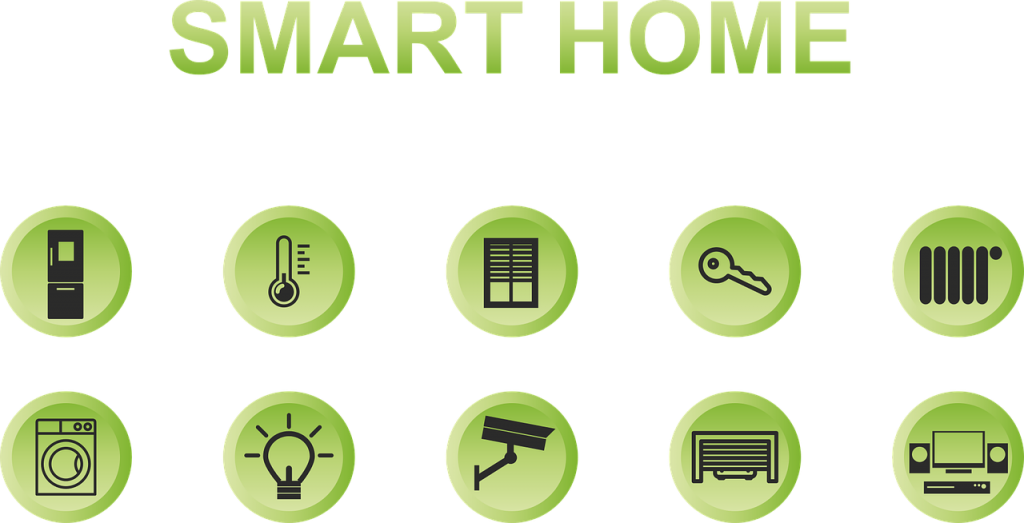 "A picture showing many potential smart home products underneath text reading ""smart home"""