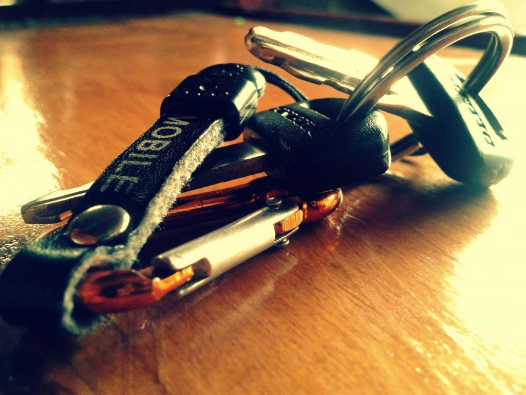 A set of car keys on a counter