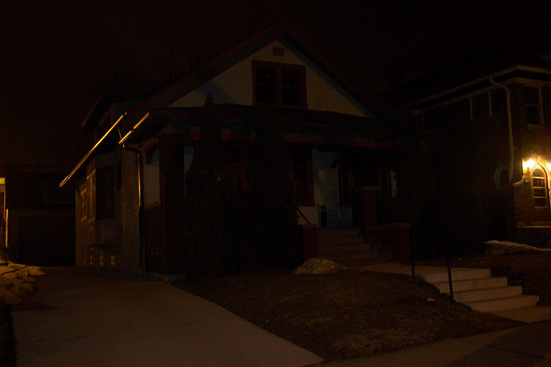 A house at night with no lights on
