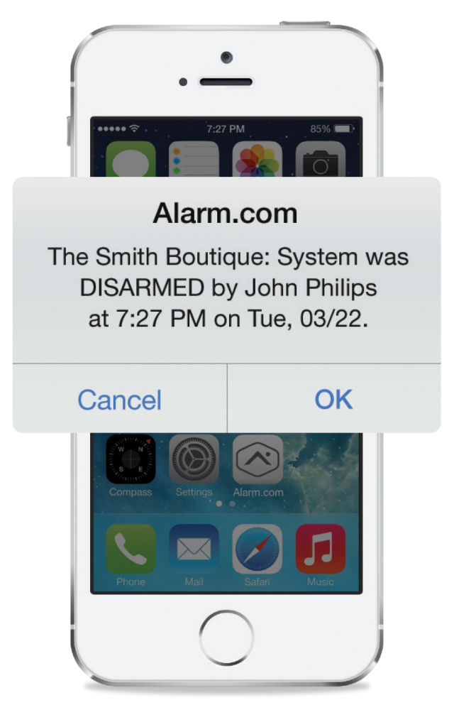 An Alarm.com business notification showing that the security system has been disarmed