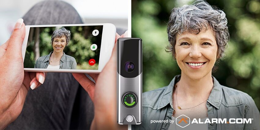 An Alarm.com doorbell camera showing a smartphone user an image of a visitor