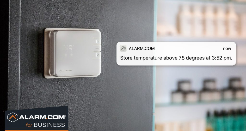 An Alarm.com notification warning of a high termperature in a store