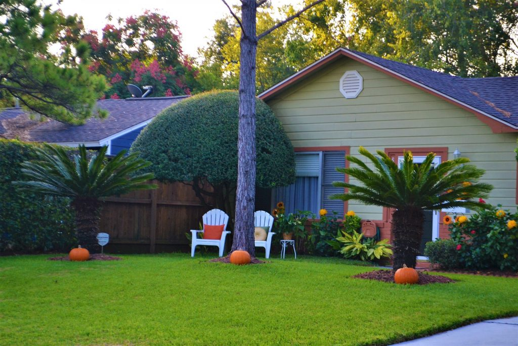 A house with pumpkins decorating the yard