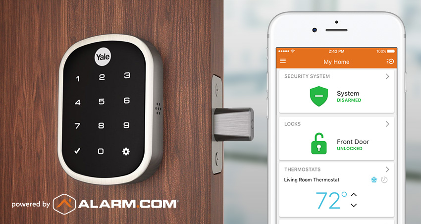 A Yale smart lock and Alarm.com app open on a smartphone