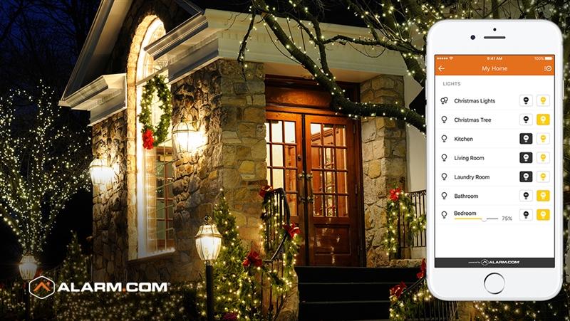 An Alarm.com app controlling a home's smart lights