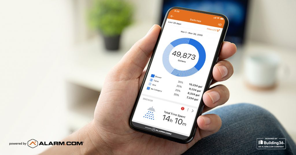 An Alarm.com app detailing water usage for home over the course of a month