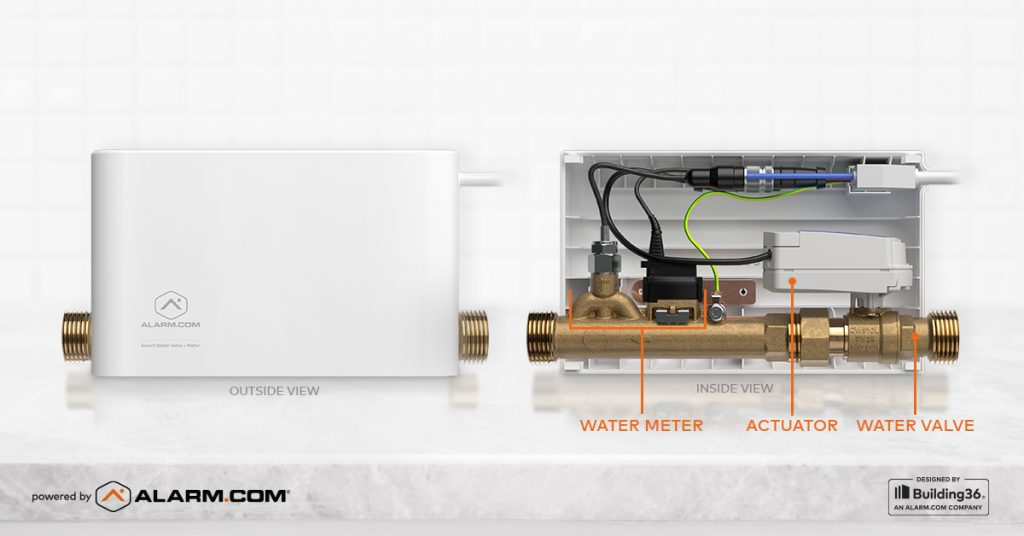 A detailed diagram of the Alarm.com Water Valve + Meter