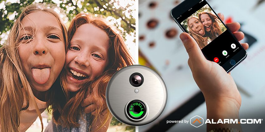 An Alarm.com doorbell image of two girls at the door