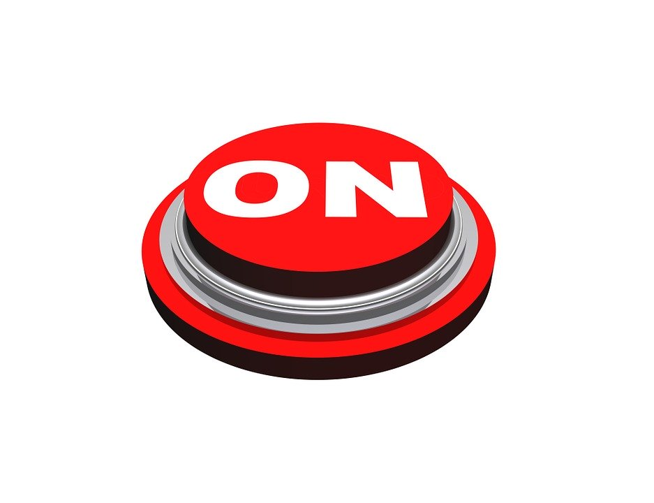 "A red ""On"" button"