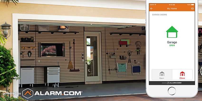 An open garage with an Alarm.com cell phone display indicating that the garage has been left open