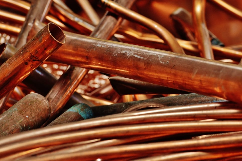 A pile of copper pipe
