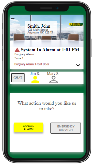 The Rapid SMS post-alarm menu screen