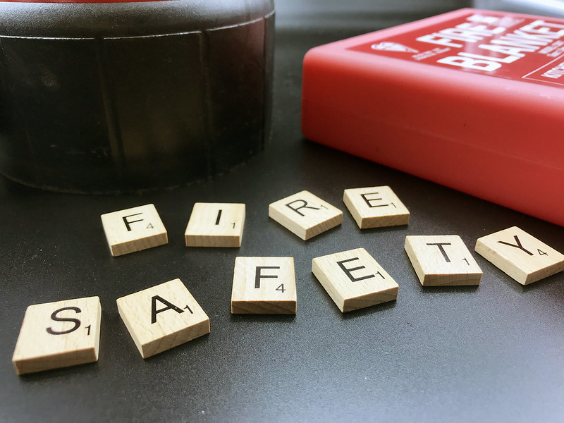 """Scrabble pieces spelling our """"Fire Safety"""""""