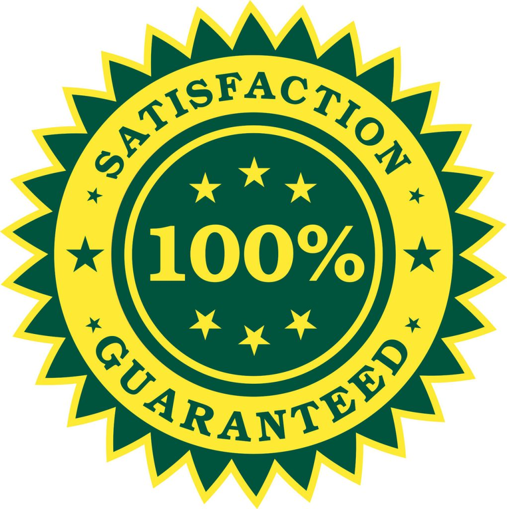 """A sticker reading """"Satisfaction Guaranteed"""""""
