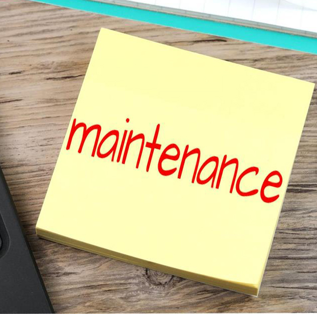 "A sticky note reading ""maintenance"""