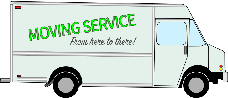 "A truck with the words ""Moving Service"" on the side"