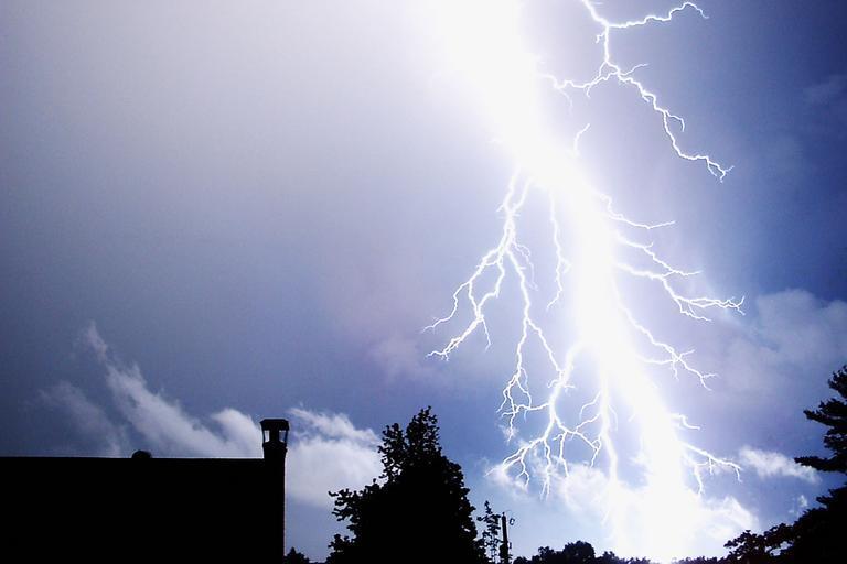 A strong lightning strike