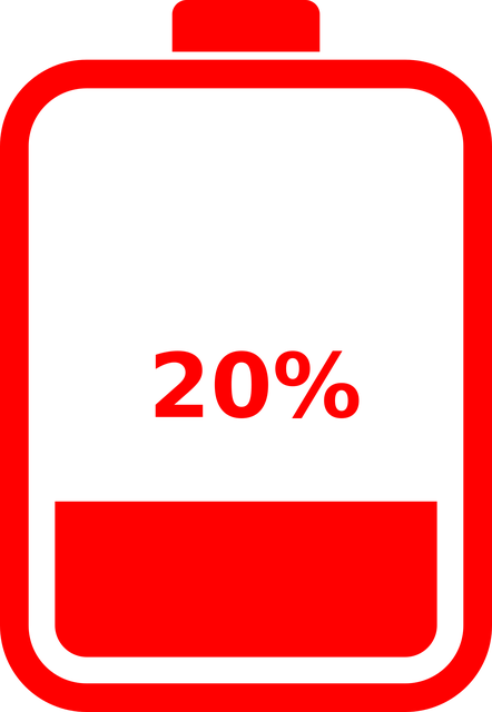 A battery indicating 20% remaining battery life